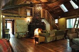 red romantic streamside cabin hot