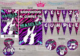Kit Impreso Rock Invitacion Banderin Cartel Stickers Deco 650