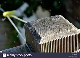 Wooden Railing Fence Post Holding Washing Line Stock Photo Alamy