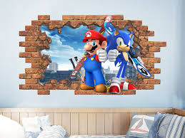 Mario Bros And Sonic Wall Decal Video Game Wall Murals Hole Etsy