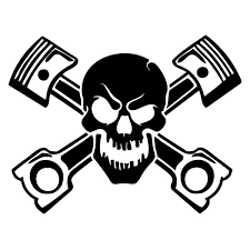 Piston Skull Sticker Vinyl Decal Car Window Cross Bones Jolly Pirate Race Racing Motorcycle Exterior Accessories Jdm Wish