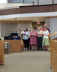 """Hillary Watson on Twitter: """"The NINE reps from Raleigh Mennonite, who was  voted into CDC membership yesterday, sang """"Water has Held Us"""" & led a  ritual of baptism remembrance @MelissaFloBix #cdcassembly18 #mennonite ("""