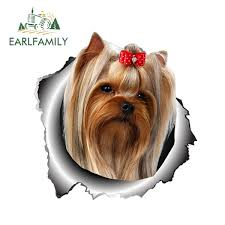 Yorkshire Terrier Vinyl Sticker Torn Metal Decal Animal Car Stickers Window Bumper Pet Dog Car Styling Wish