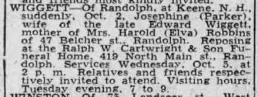 Josephine Ada Parker Wiggett Death Notice - Newspapers.com
