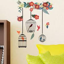 Colorful Flower Birdcage Wall Stickers For Living Room Bedroom Home Decoration Wall Decals Large Murals Art Poster Pvc Wall Stickers Aliexpress