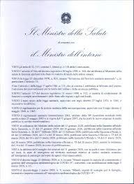 CORONAVIRUS: Decreto del Ministero della salute e del Ministero ...