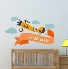 Personalized Retro Plane Name Wall Decal With Name
