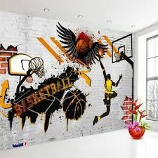 3d Basketball Sports Wall Mural Wallpaper Living Room Kids Bedroom Gym Bar Pub Ebay