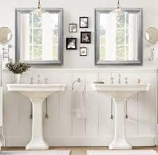 brushed nickel modern bathroom mirror