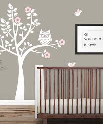 Looksugar White Baby Pink Owl Tree Wall Decal Set Zulily