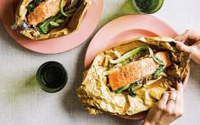 Salmon fillets with miso, shiitake ...