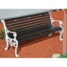 cast iron garden bench with backrest