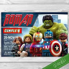 Avengers Lego Invitacion Espanol Avengers Lego Spanish