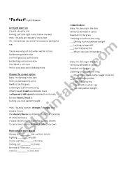 Perfect - Ed Sheeran - Lyrics worksheet - ESL worksheet by MLupich