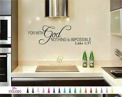 Luke 1 37 With God Nothing Impossible Bible Verse Wall Quote Vinyl Decal Sticker Ebay