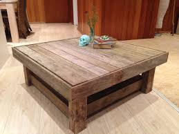 recycled timber coffee table with shelf