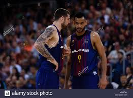 Barcelona, 1st June: Adam Hanga player of FC Barcelona Basket talks with  his team mate Petteri Koponen player of FC Barcelona Basket during Game 3  of Stock Photo - Alamy