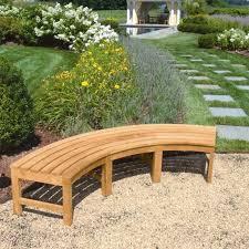 teak curved outdoor bench circa