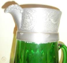 vintage emerald green glass pewter