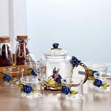 saiclehome enamel tea cup teapot set