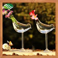 bird shape glass vase garden decoration