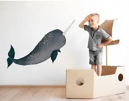 Narwhal Wall Decal Narwhal Wall Sticker Narwhal Birthday Etsy