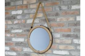 round wall mirror rope hanging