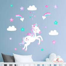Unicorn Wall Stickers With Clouds And Shooting Stars Aqua Pink Purple Owl Brolly