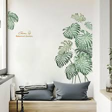 Tropical Leaves Wall Stickers Removable Botanical Green Living Room Vinyl Decal Ebay
