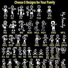 Amazon Com Totomo Choose 5 Figures From 48 Unique Designs Stick Figure My Family Car Stickers With Pet Dog Cat Fish Rabbit Bird Family Car Decal Sticker For Windows Bumper Arts Crafts