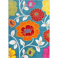 Shop Well Woven Bright Flowers Blue Orange Red Yellow Green Area Rug 5 X 7 Overstock 10549449