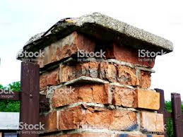 Decaying Deteriorating Brick Fence Post And Concrete Cap Stone Stock Photo Download Image Now Istock
