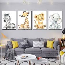 Shop Cute Animal Baby Lion Elephant Zebra Art Canvas Poster Painting Kids Room Decor Online From Best Arts Crafts On Jd Com Global Site Joybuy Com