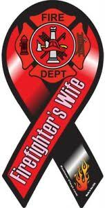 4 18 Firefighters Wife Support Husband Fire Fighter Car Ribbon Vinyl Decal Ebay
