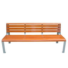 solid wood garden bench with metal