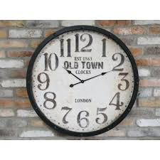 large rustic old town wall clock