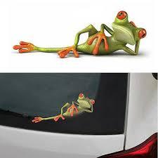 Funny Car Vinyl Sticker Auto Decal 3d Green Lying Frog Wall Truck Window Sticker Ushirika Coop