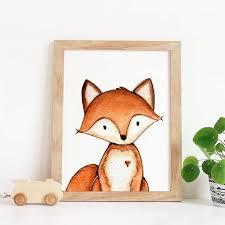 Fox Artwork Nursery Fox Wall Art Fox Kids Room Decor Fox Etsy