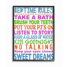 Shop Kids Room By Stupell Multi Colored Bedtime Rules Typography Framed Giclee Texturized Art 11 X 1 5 X 14 Made In Usa Overstock 21482551