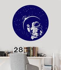 Vinyl Wall Decal Space Suit Astronaut Stars Full Moon Stickers 1488ig Vinyl Wall Decals Wall Decals Living Room Table