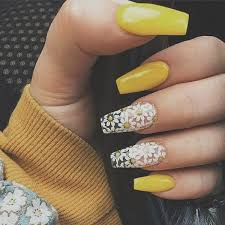cute yellow acrylic nail designs for