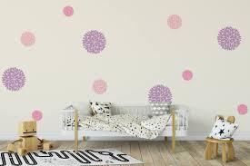 Dahlia Flowers Vinyl Wall Art Decal Dahlia Flowers Wall Decals Nursery Wall Decal Girls Wall Decal