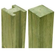 8ft Pressure Treated Reeded Slotted Fence Post 240 X 9 4 X 9 4cm Ebay