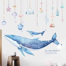 Best Promo E9b86 Cartoon Coral Whale Wall Sticker For Kids Rooms Nursery Wall Decor Vinyl Tile Stickers Waterproof Home Decor Wall Decals Murals Cicig Co