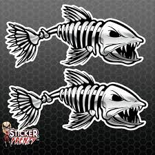 Skeleton Fish 01 Silver Vinyl Sticker Car Truck Boat Decal Bone Fishing Fs843 Ebay
