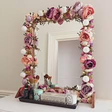 fl makeup mirror with silk flowers