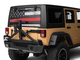 Sec10 Jeep Wrangler Perforated Real Flag Rear Window Decal Red Line J122189 87 21 Jeep Wrangler Yj Tj Jk Jl