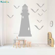 Waliicorners Nursery Lighthouse Wall Decal Nautical Home Decor Vinyl Art Custom Birds Seagull Sailor S Room Removable Vinyl Poster Yt1529 Waliicorner S Store