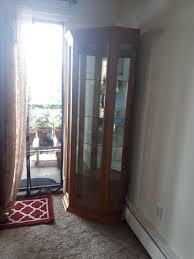 large corner curio cabinet solid wood