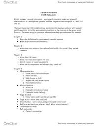 advanced nutrition unit 1 study guide